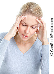 Sick woman - Young woman having head ache. Migraine. Health.
