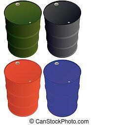 Multi-colored iron barrels