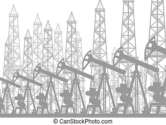 Oil-producing installation - Oil industry. Oil rigs and oil...