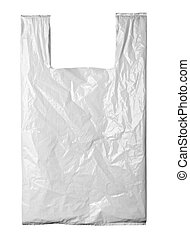 white plastic bag - close up of a white plastic bag on white...