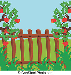 fence and apple trees vector illustration