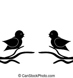 two birds on twigs on white background vector