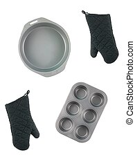 Baking Items - Baking items isolated against a white...