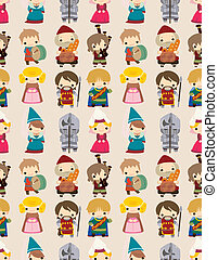 cartoon Medieval people seamless pattern