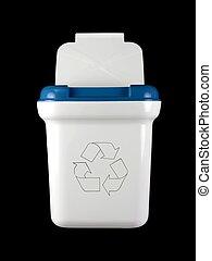 Rubbish Bin - A rubbish bin isolated against a black...