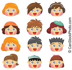 cartoon kid face icon