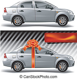 Car with bow - New model of vector auto with red bow,...