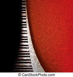 abstract grunge music background with piano keys on red