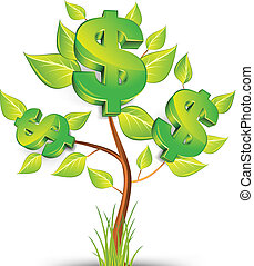 Dollar tree - Green tree growing currency with dollar sign...