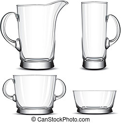 Glass tableware, decorative objects of household, vector...