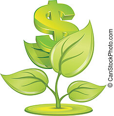 Dollar plant - Plant growing currency with dollar sign on...