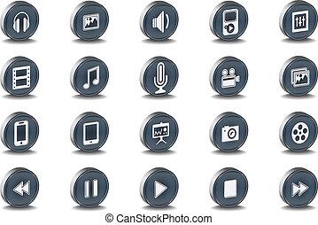 Vector 3d Oval Mono Multimedia Icon - Vector 3d Oval Mono...