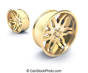Gold car rims concept. Isolated on white