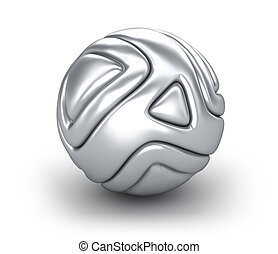 Abstract chrome ball isolated