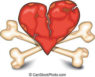 Heart & bones on white - The broken heart against bones,...
