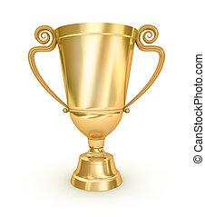 Doré, trophée, tasse, blanc, surface