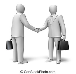 Business people shaking hands 3D concept