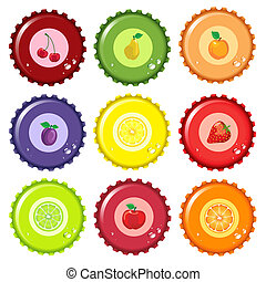 Fruit juice bottle caps - A vector illustration of metal...
