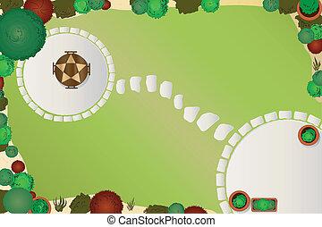 Garden plan - A vector illustration of a garden layout....