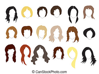 Hairstyles - Various hairstyles Simple silhouettes EPS10...