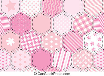 Patchwork quilt pink - A vector illustration of a patchwork...