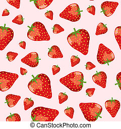Strawberries seamless - A seamless vector of ripe...