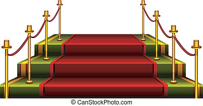 Podium - Red podium isolated on white background, vector...