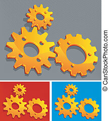 Three-color gears - Three-color vector gears background,...