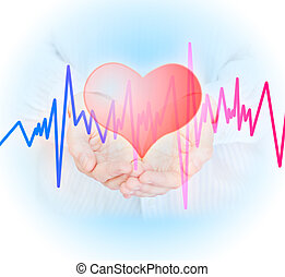 Health insurance concept - Hands, heart and pulse Health...