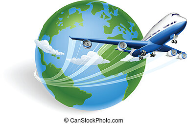 Airplane globe concept - Airplane circling the globe and...