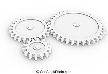 Machine Gears all white, sparse.