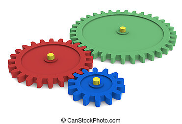 Search Engine - Blue, green, red and Yellow Gears