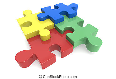 jigsaw Puzzle - Blue, yellow, red and green Puzzle