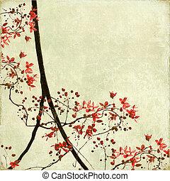 entrelaçado, flor, borda, antigüidade, papel