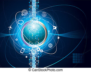 World Net - Technology vector background of Global...