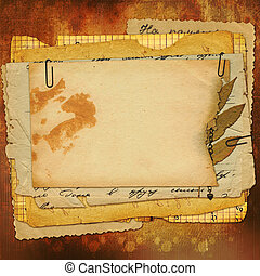 Abstract ancient brown background with set old paper in...