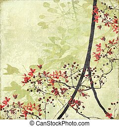 Tangled Blossom Border on Antique Paper