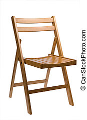 folding chair - wooden folding chair isolated on white