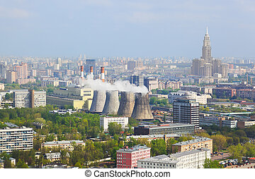 Power station in city Moscow, Russia