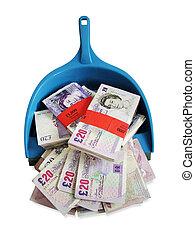 Money in dustpan