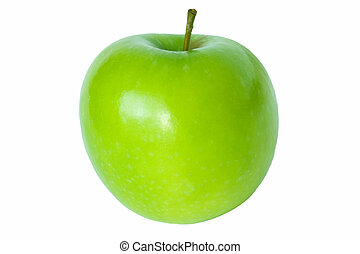 Green granny smith apple isolated on white background