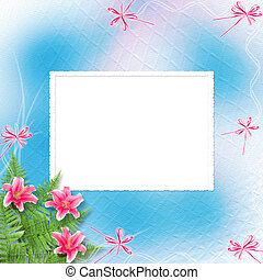 Card for invitation or congratulation with pink lilies