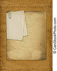 Abstract ancient brown background with set old paper in scrapbooking style