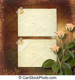 grunge paper for congratulation with cream roses