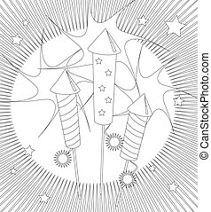 Fireworks colouring page