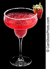 Strawberry Margarita in front of a black background with...
