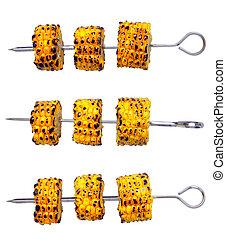 corn skewers - close up of corn skewers