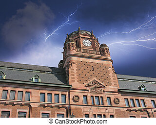 Storm approaching Post Office Building in Stockholm, Sweden