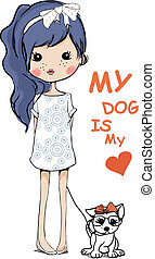 cute girl with dog - illustration vector sketch drawing