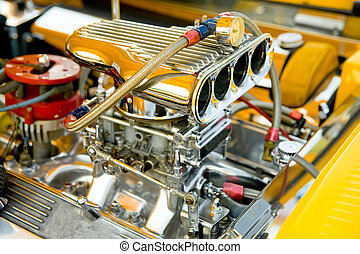 horsepower - powerful hot-rod engine bay with a large number...